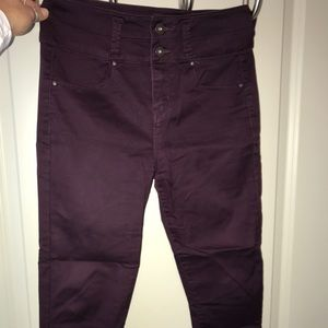 High waisted burgundy cropped pants